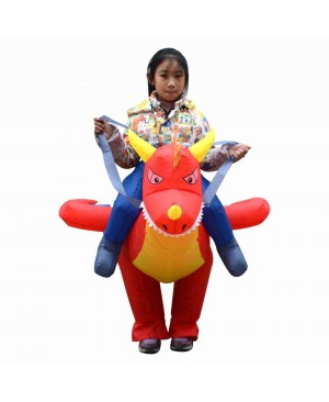 Fire Dragon Dinosaur Carry me Ride on Inflatable Costume Halloween Christmas Costume for Kid