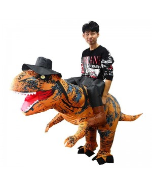 New T-Rex Tyrannosaurus Dinosaur Carry me Ride on Inflatable Costume for Adult