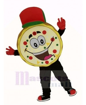 Yummy Pizza with Red Hat Mascot Costume