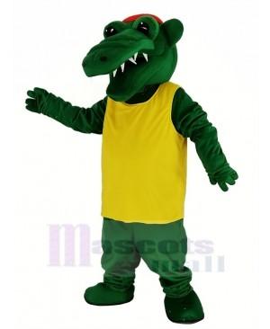 Tuff Gator with Yellow T-shirt Mascot Costume Animal