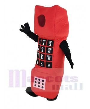 Red Open Face Cell Phone Mascot Costume Cartoon