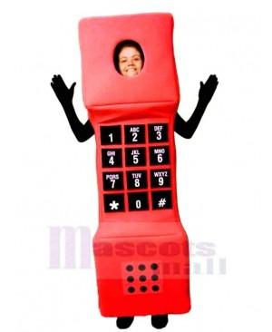 Red Cell Phone Mascot Costume Cartoon