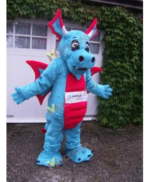 High Quality Adult Light Blue Arriva Dragon with Red Wings Mascot Costume