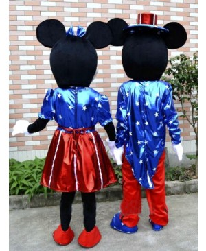 U.S Flag Mikey and Minnie Mouse Mascot Costume