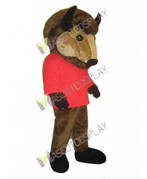 Wild Bud the Buffalo Mascot Costume in Red Shirt