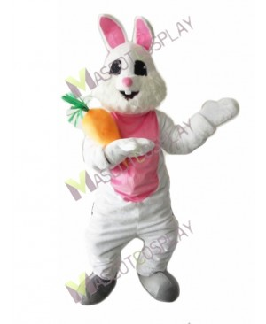 Easter Bunny Rabbit with Carrot Mascot Costume