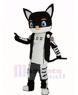 Sir Black Cat in Black Coat Mascot Costume Cartoon