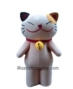 High Quality Realistic New Cartoon Character Adult Lovely Smiley Cat White Cat Mascot Costume