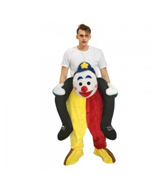 Clown with Blue Eyebrow Carry me Ride on Halloween Christmas Costume for Adult