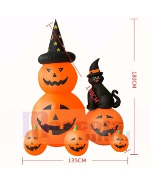 6ft Inflatable Witch Pumpkins with Black Cat with LED lights Halloween Holiday Decoration Outdoor Yard Lawn Art Decor