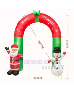 8ft Inflatable Large Arch with Santa Claus & Snowman with LED Lights Holiday Archway Decoration Outdoor Yard Lawn Art Decor