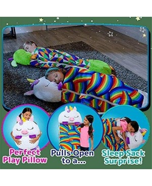 Happy Nappers Pillow & Sleepy Sack 2 in 1 Kids Foldable Sleeping Bag with Pillow Cartoon Animals Pink Unicorn