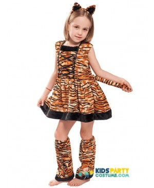 Tiger Girl Child Animal Carnaval Costumes For Kids Cute Head band Children Cosplay Lovely