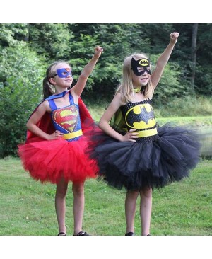 Superman Girls Tutu Dress with Mask Super Hero Inspired Baby Costume Kids Cosplay Christmas Halloween Tutu Dress