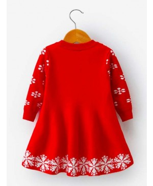 Funnycokid Little Girls Christmas Dress Xmas Gifts Knitted Sweater Dresses