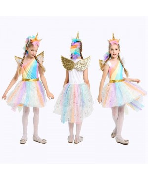 5-12Y Girl Unicorn Fancy Dress Costumes Rainbow Sequined Tutu Wedding Party Princess Dress with Hair Hoop Wings Set for Cosplay