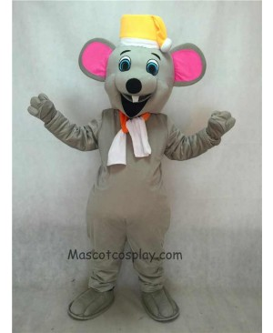 Hot Sale Adorable Realistic New Christmas Mouse Mascot Costume with Yellow Hat