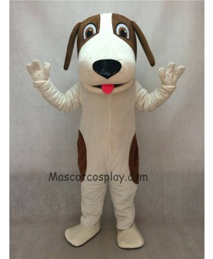 Hot Sale Adorable Realistic New Brown and White Woofer Dog Mascot Costume