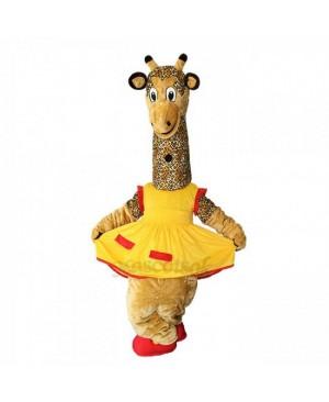 New Friendly Female Giraffe in Yellow Dress Mascot Costume