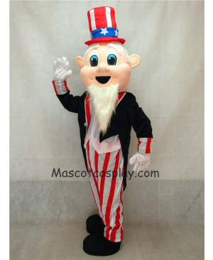 Hot Sale Adorable Realistic New Uncle Sam Patriotic Mascot Costume with Black Tuxedo