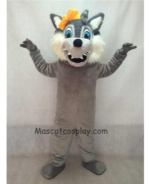 Grey Big Bad Female Wolf with Yellow Bow Mascot Costume