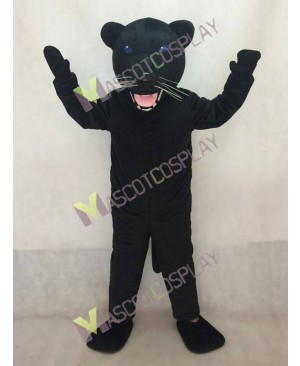 New Black Pantera Panther Mascot Costume in Blue Eyes