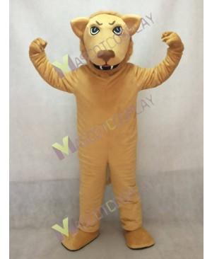 Cute Tan Leslie Lion Mascot Costume