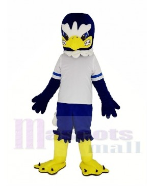 Fierce Blue Eagle in White T-shirt Mascot Costume