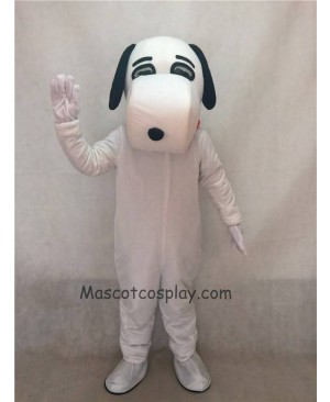 Hot Sale Adorable Realistic New Popular Professional White Snoopy Dog Mascot Adult Costume with Black Ears
