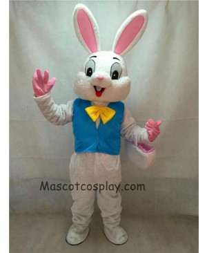 High Quality Easter Bunny Mascot Costume Bugs Rabbit Hare Adult Fancy Dress Cartoon Suit in Blue Vest