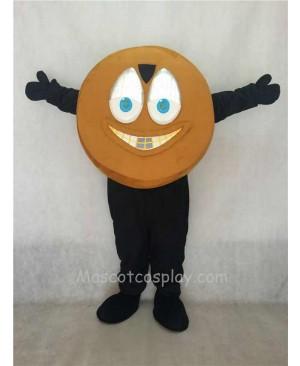 Adorable Light Brown Hockey Puck Mascot Costume