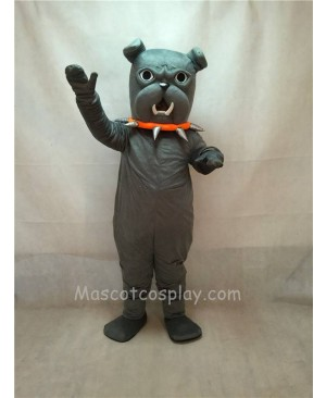 High Quality Grey Bulldog with Red Collar Mascot Costume