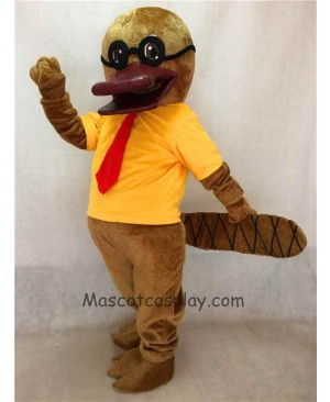 High Quality Cartoon Platypus with Glasses Mascot Costume in Yellow T-shirt