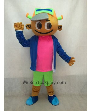 Cute Cap Boy in Blue Coat and Green Pants Mascot Costume