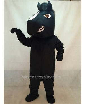 High Quality Energetic Adult Black Stallion Horse Mascot Costume