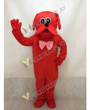 Red Dog with Pink Bow Mascot Costume