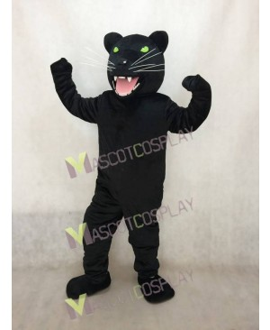 Fierce New Black Panther Mascot Costume with Green Eyes