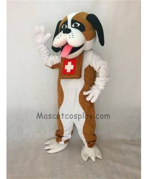 Cute New Brown and White St. Bernard Dog Mascot Costume