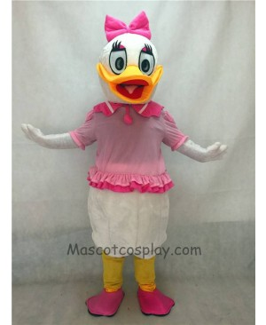High Quality Cute Pink Bow Purple Daisy Duck Mascot Costume
