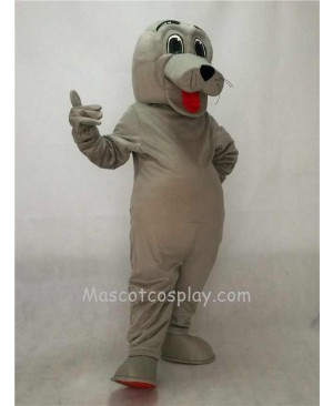 Cute Gray Silly Seal Mascot Costume