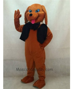 High Quality Cute Brown Dachshund Dog with Vest & Tie Mascot Costume