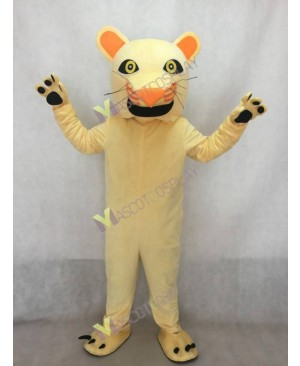 Realistic Adult Light Tan Cougar Mascot Costume