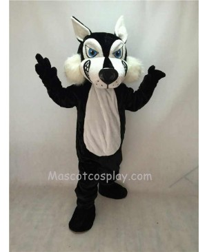 Fierce Adult Black Wolf Mascot Costume