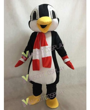 New Custom Color Red and White Scarf Penguin Mascot Costume