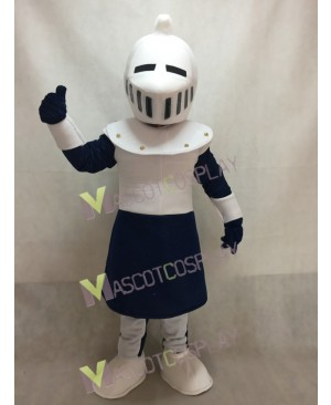 New White and Blue Knight Mascot Costume