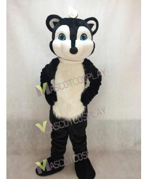 Hot Sale Adorable Realistic New Black Skunky Skunk Mascot Costume with Blue Eyes