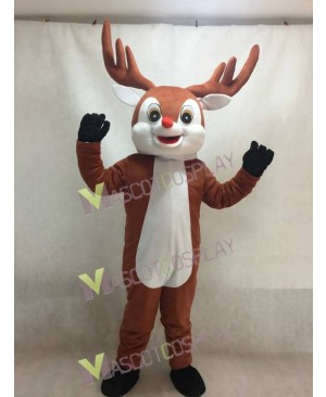 Little Red Nose Brown Reindeer Mascot Costume