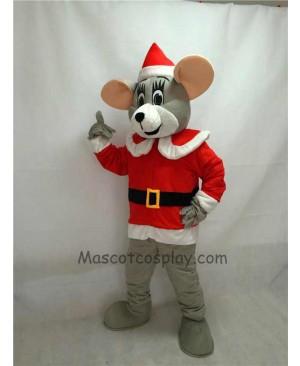 Cute Noel Mouse with Santa Coat & Hat Christmas Mascot Costume