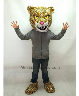Cute New Fierce Jaguar Mascot Costume with Yellow Eyes