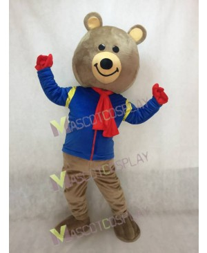 Cute Brown Brisky Bear Mascot Costume with Blue Shirt